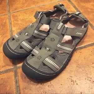 JAMBU gray & pink sandals